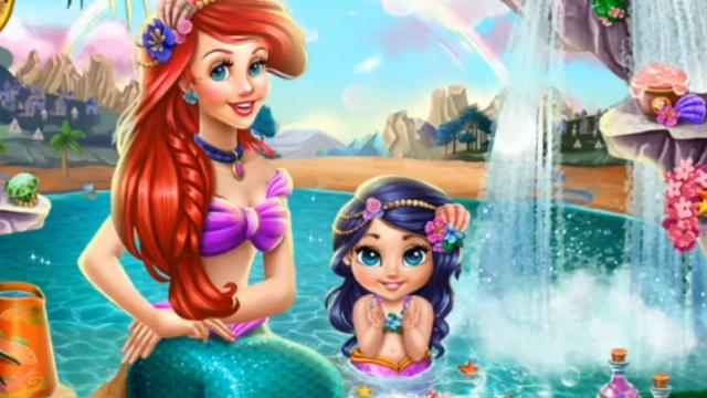 Play Ariel Baby Wash - Free online games with Qgames org