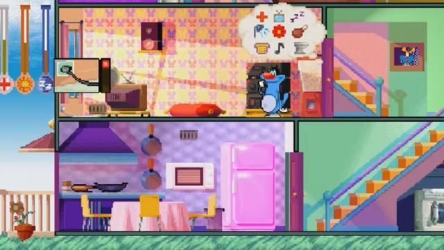 jeux de oggy et les cafards dans le jardin design de maison. Black Bedroom Furniture Sets. Home Design Ideas